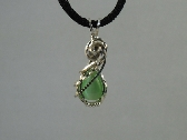 DZIPN06 Green Cats Eye Pear in Sterling Silver Filled Necklace