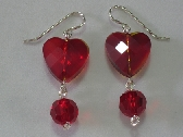 DZIE24 Red Faceted Heart Earrings
