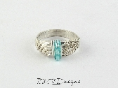 Sterling Silver Filled Weave Ring with Light Blue Czech Glass