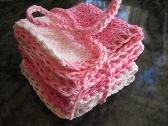 3 handmade pink dishcloths