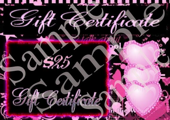 Gift Certificates for your On Line Shop