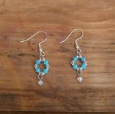 Turquoise crystal dangle earrings 0