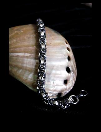 Sterling Silver and Tantalum Byzantine bracelet