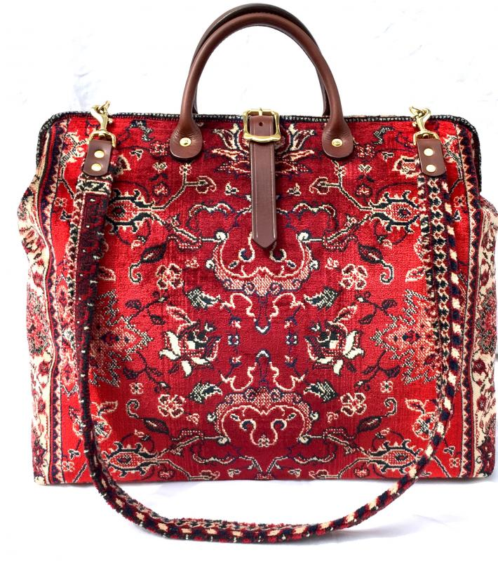 Carpet Bag Red Agra Handmade in England