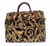 Black Gold Regency Carpet Bag Handmade in England