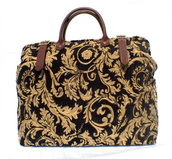 Black Gold Regency Carpet Bag Handmade in England