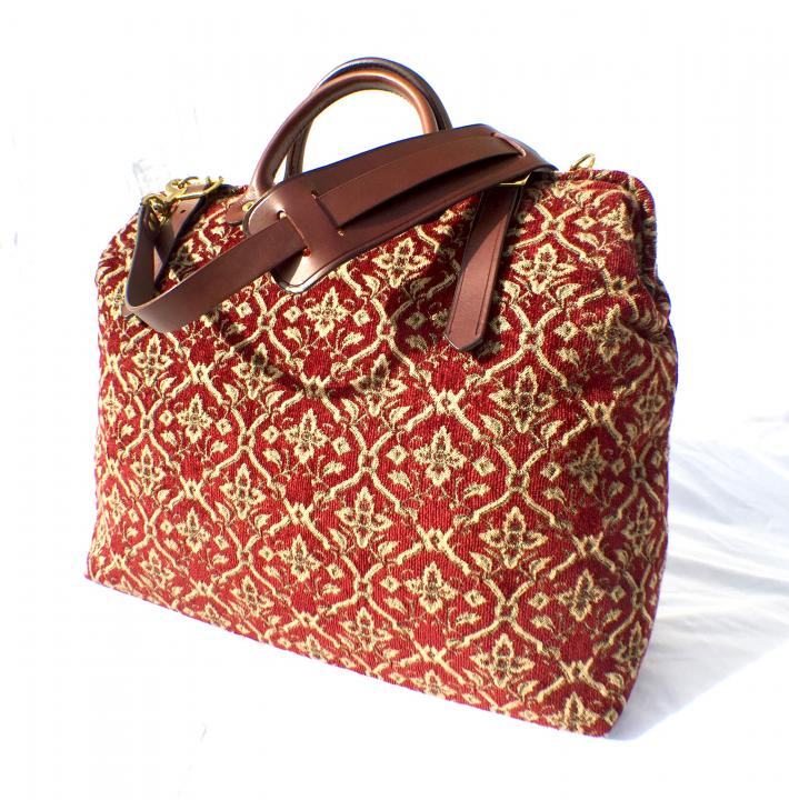 Monarch Red Gold Fabric Carpet Bag Handmade in England