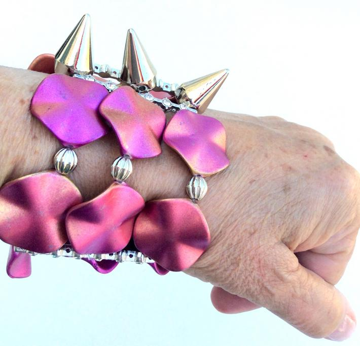 Pink resin One of a Kind elastic cuff Bracelet funky Jewelry  B2013