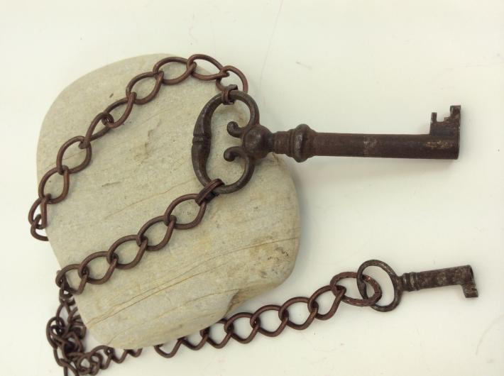 Copper Key  Vintage Skeleton Key Pendant necklace One of a kind Jewelry  V1982b