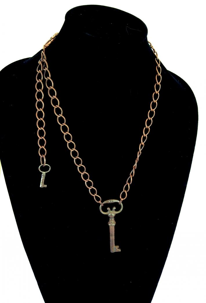 Copper Key  Vintage Skeleton Key Pendant necklace One of a kind Jewelry  V1982b