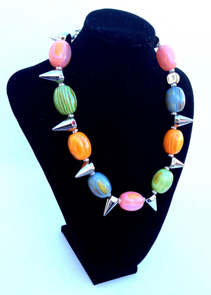 Resin and Acrylic Multi Color  funky  choker Necklace One of a Kind Jewelry