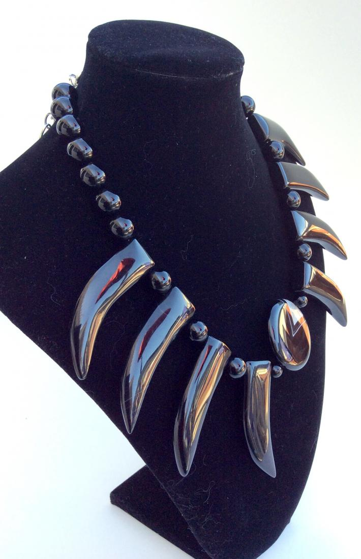 Black Agate and Onyx choker bib Necklace One of a Kind handcrafted Jewelry  S2000