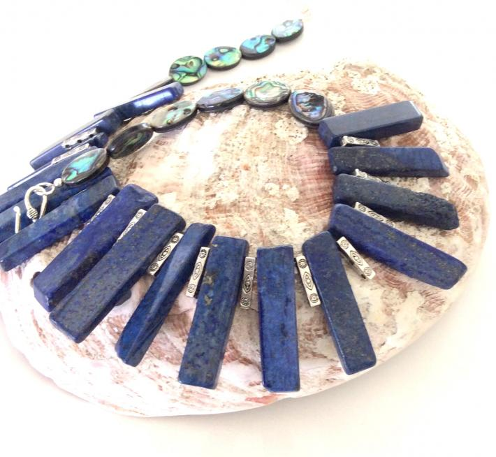 Blue Branch Lapis and Ablone One of a Kind Handcrafted bold bib necklace  S2117