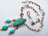 Turquoise Marquise and Clear Quartz Necklace