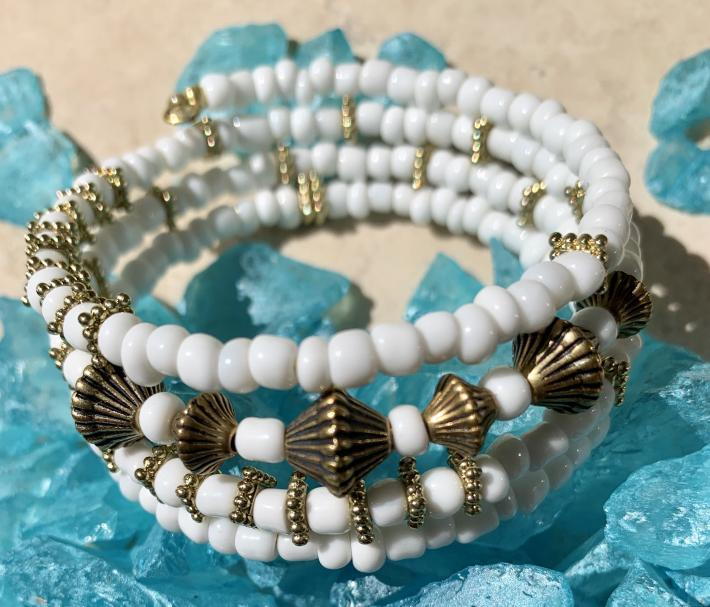 Handmade Memory Wire Bracelet Glass Beads Shades of White 9