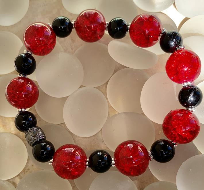 Handmade Beaded Stretch Bracelet Semi Precious Stones  Black Onyx Red and Black 12