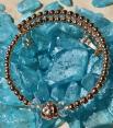Handmade Memory Wire Bracelet Glass Beads Rose Gold 15