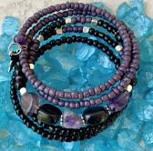 Handmade Memory Wire Bracelet Semi Precious Stones Amethyst and Onyx Glass Beads Purple and Black 20