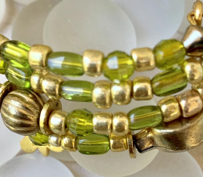Handmade Memory Wire Bracelet Glass Beads Shades of Green and Gold 31