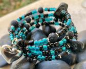 Handmade Memory Wire Bracelet Semi Precious Stones Black Onyx and Black Lava Glass Beads Turquoise Blue and Black 37