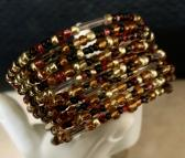 Handmade Memory Wire Bracelet Glass Seed Beads Amber Black Gold 66
