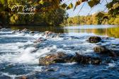 Fall Water Print river photography autumn leaves print home wall art 8x12