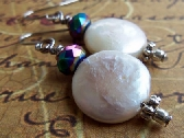 White Coin Pearl Earrings with AB Coated Rondelles