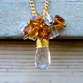 Yellow and Clear Hand Wired Bead Cluster Pendant Chain Necklace