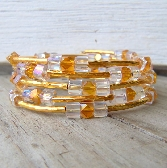 Gold and Clear Glass Beaded Memory Wire Bracelet