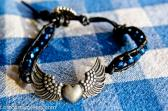 Heart Wings Bracelet Harley Girl Biker Jewelry Steampunk Blue Crystals Leather Bohemian Wrap
