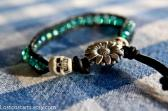 Bohemian Skull Bracelet Crystal Wrap Leather Bracelet Biker Jewelry Handmade leather
