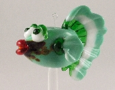 Lampworked Green and White Fish Bead by DK Designs BIZ
