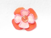 Pink and Orange Felt Hair Flower Clip