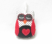 Sleepy Owl Crafted in Vintage Black on White Swiss Dot with Red Heart One of a Kind