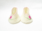 Wool Felted Baby Booties in natural cream with pink needle felted Flowers