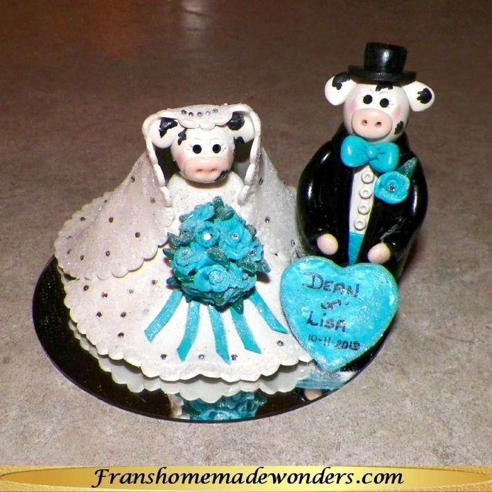 Custom Wedding Cake Tops  Bride and Groom  COWS