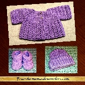 3 Piece Handmade Preemie Sweater Sets Style 3PSS LAVENDER Sweater with LAVENDER Ribbed Cap and LAVENDER Booties