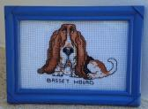 Framed Cross stitch Basset Hound 7 x 5
