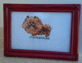 Framed Cross stitch Pomeranian 7 x 5