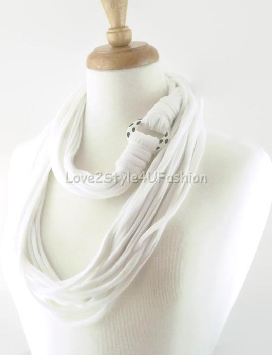 Handmade Infinity Scarf White Scarf Unisex Scarf