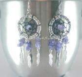 Dreamcatcher Amethyst Earrings Purple Silver Drop Earrings Dream Catcher Earrings Amethyst Earrings Tribal Jewelry Purple Earrings