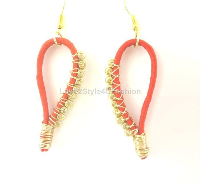 Thin Hoop Earrings Red Earrings Gold Kinky Dangle Earrings Teardrop Earrings Loop Earrings Bead Cluster Earrings
