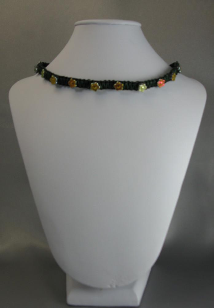 Iridescent Flowers woven leather necklace