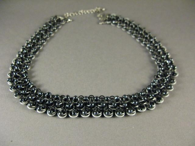 Beaded White and Black Chainmaille Necklace