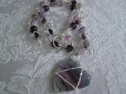 Natural Fluorite Heart Necklace
