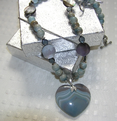 Blue Onyx and Agate Heart Necklace