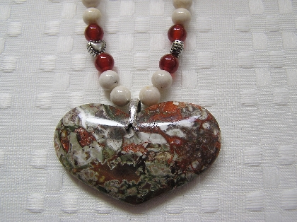 Spiderweb Agate Heart Necklace