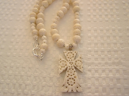 Camel Bone Hand Carved Cross Necklace