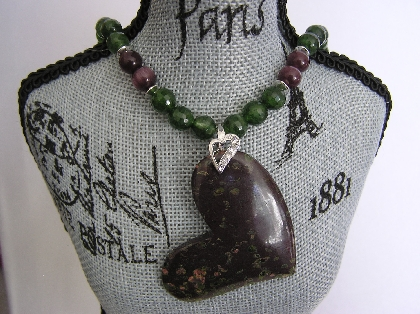 Plumite Jasper Heart Necklace