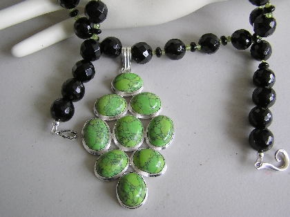 An Apple A Day Necklace with Green Arizona Turquoise
